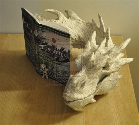 book sculpture smaug emerging from the hobbit