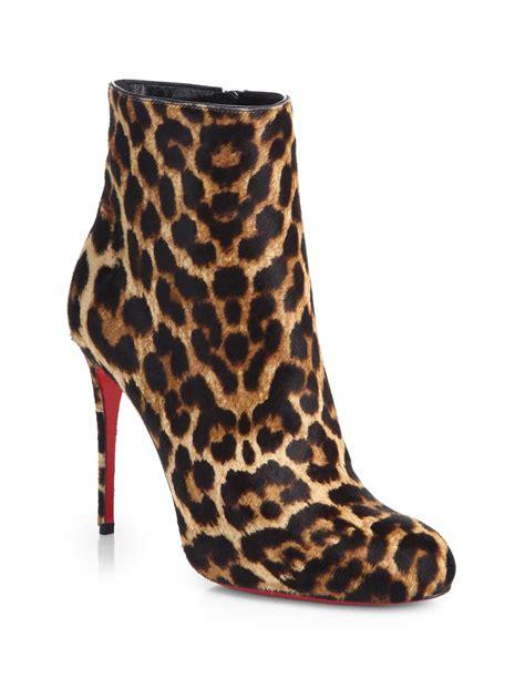 christian louboutin fifi leopard print calf hair boots lyst