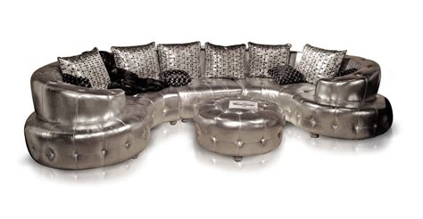Silver Sectional Sofa by Curved Silver Sectional Sofa With Tufted White Crystals