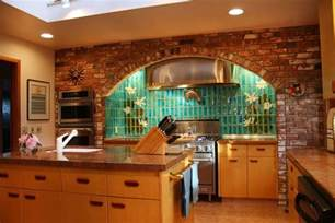 brick backsplash grey kitchen home design ideas