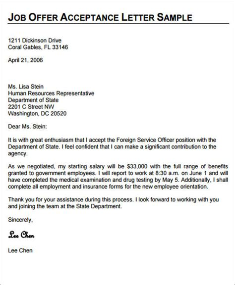 Acceptance Confirmation Letter Sle Letter To Confirm Acceptance Of Offer 18 Images