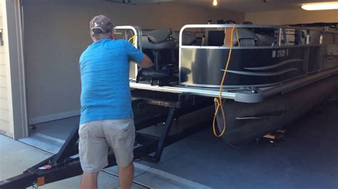 pontoon boat store store a 20 pontoon in a 2 car garage youtube