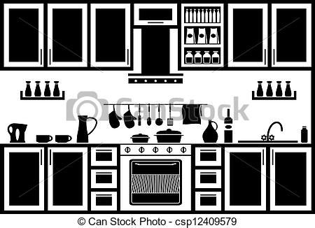 vectors illustration of icon of kitchen image kitchen in black and white on a csp12409579