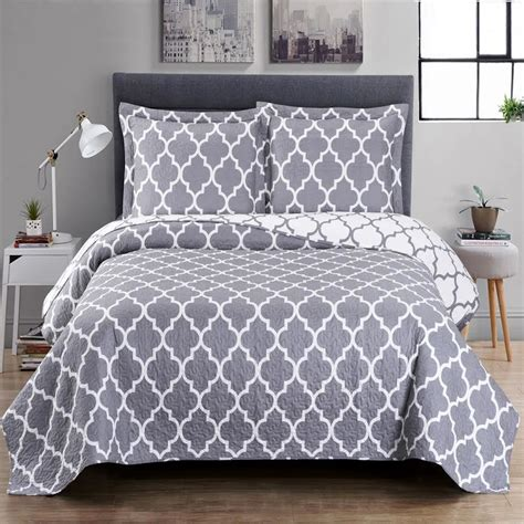 Soft Quilts Bedding Meridian Oversize Coverlet Soft Microfiber Reversible