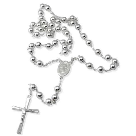 silver rosary sterling silver rosary necklace 1 ounce