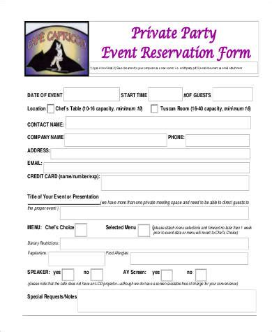 48 Free Reservation Forms Sle Templates Entertainment Booking Form Template