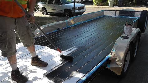 boat bed liner paint iron armor bed liner painted on wood trailer youtube