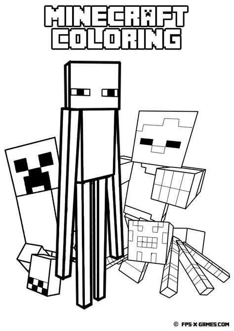 minecraft coloring pages all mobs printable minecraft coloring mob minecraft party ideas