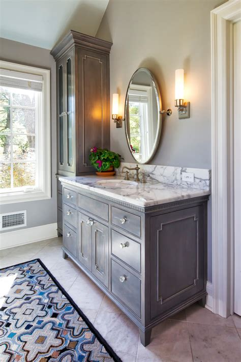 Built In Bathroom Vanity Cabinets by 48 Vanity Cabinet Bathroom Traditional With Area Rug Built
