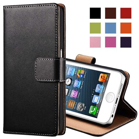 real genuine leather for iphone 5 5s flip stand design phone back cover wallet with card