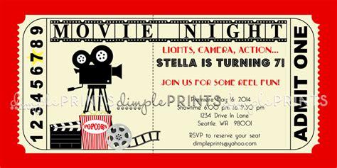 printable movie tickets invitations vintage movie ticket printable birthday invite dimple