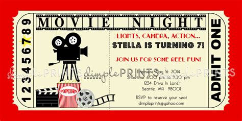 free templates for movie invitations vintage movie ticket printable birthday invite dimple