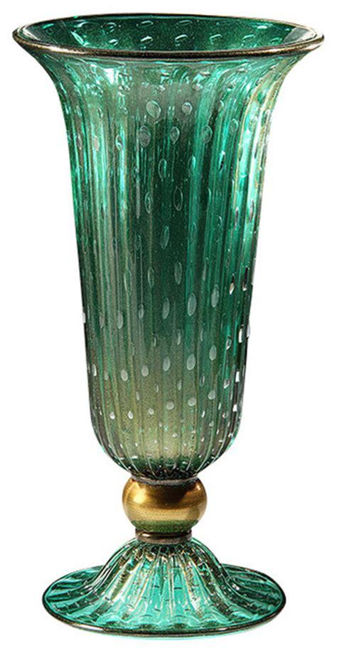 venetian glass vase venetian glass vase green and gold traditional vases