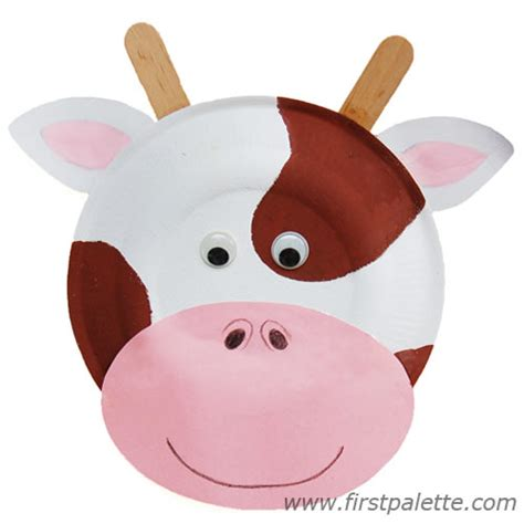 Cow Paper Plate Craft - paper plate animals craft crafts firstpalette