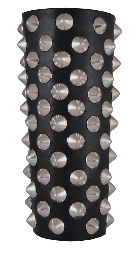 cone rows hair leather gauntlet with cone studs rivithead