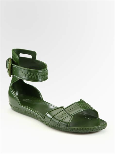 jelly flat shoes givenchy flat jelly sandals in green militarygreen lyst