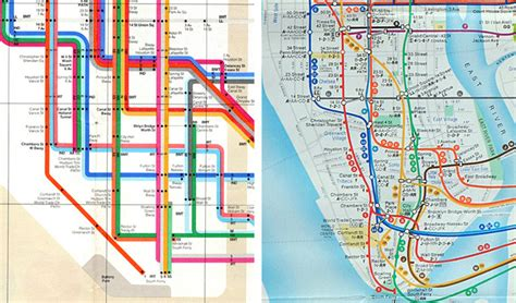 subway map of manhattan with streets designing a better subway map idsgn a design
