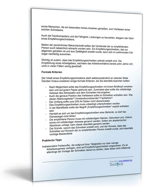 Praktikum Empfehlungsschreiben Muster empfehlung eines sch 252 lers muster vorlage zum
