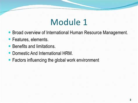 International Human Resource Management Notes Mba by Module 1