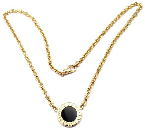 bulgari black onyx gold pendant link necklace at 1stdibs