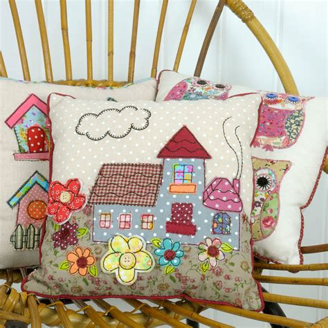 Patchwork Cottage - mini patchwork cottage cushion dotcomgiftshop
