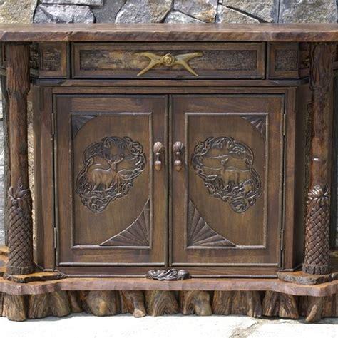 Rustic Walnut Cabinets by Custom Rustic Walnut Carved Cabinet By L Post Rustics