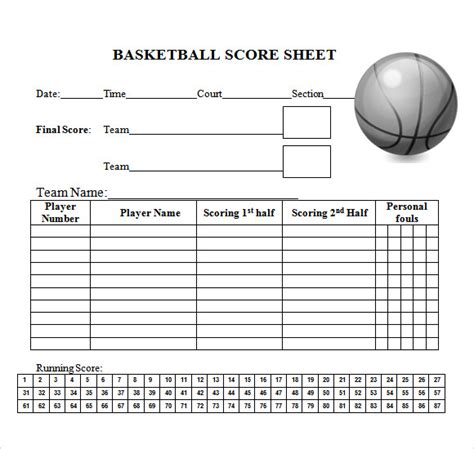10 Sle Basketball Score Sheets Sle Templates Basketball Roster Template Pdf
