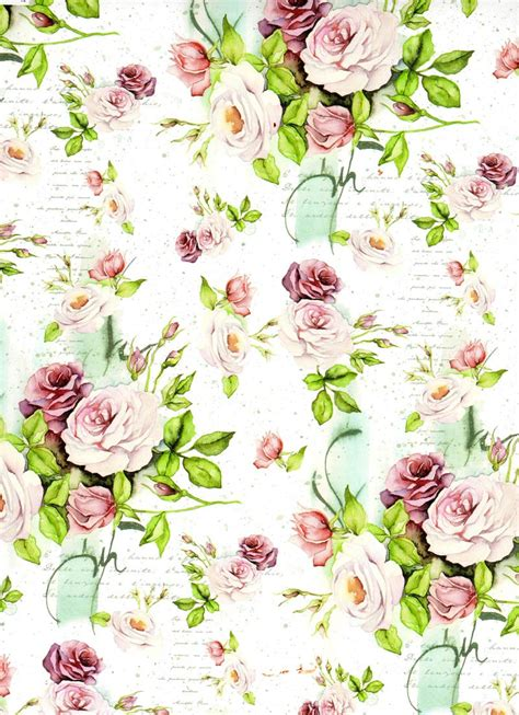 Floral Decoupage - flowers background digital decoupage scrapbooking por