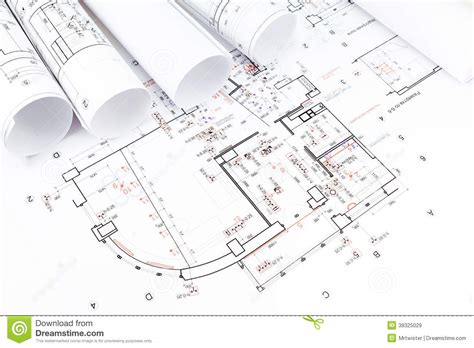 architect house plans free architectural blueprints rolls stock photo image 39325029