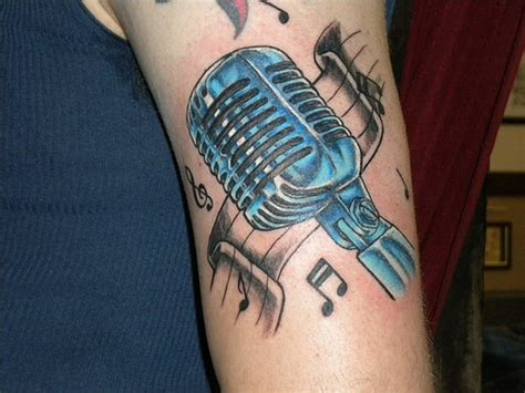 microphone tattoo design shannon mums custom san diego pb pacific