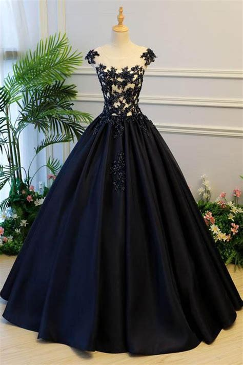 princess cap sleeves scoop black applique satin long prom