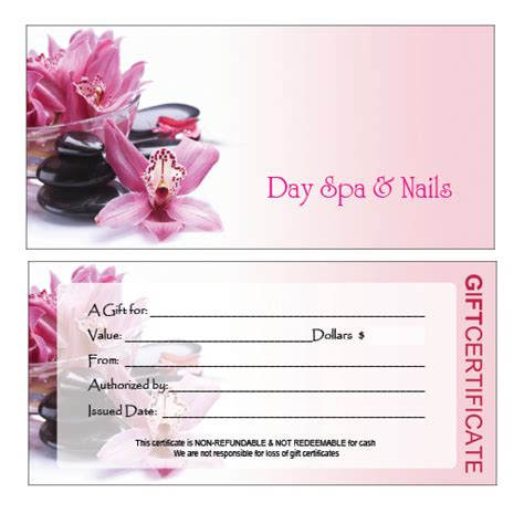 salon gift card template hair nail spa printing