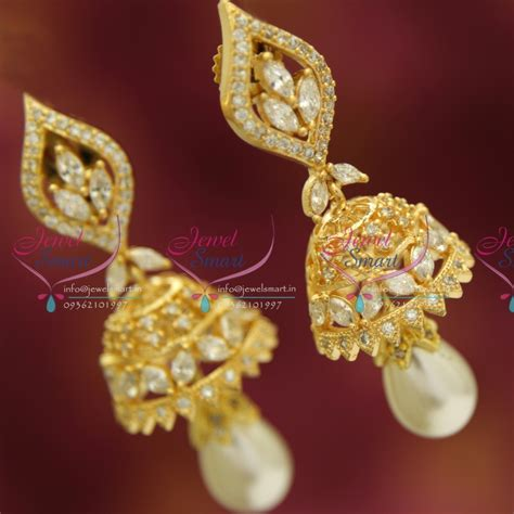 gold jhumka earrings design with price j3434 cz white delicate design pearl drops gold plated