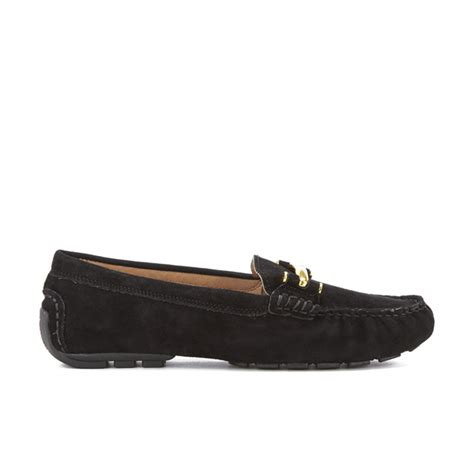 womens black suede loafers ralph s caliana suede loafers black