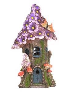solar panel fairy lights lilac flower fairy tree house fairy garden accessory