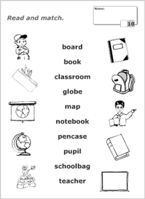 school stationery coloring pages school vocabulary for kids learning english matching game