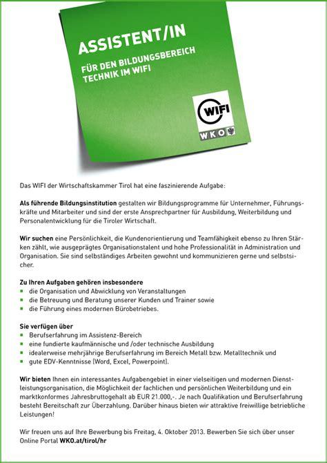 Bewerbung Bereitschaft Weiterbildung Assistent In F 252 R Den Bildungsbereich Technik Im Wifi Das Wifi Der Wirtschaftskammer Tirol Hat