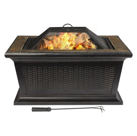 Lowes Firepit Allen Roth 36 In Square Wood Burning Pit Lowe S Canada