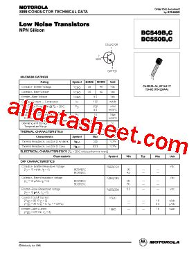 bc550c transistor equivalent bc550c datasheet pdf motorola inc