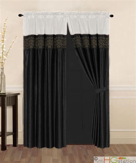 black and ivory curtains 4 pcs satin flocking royal floral window curtain set ivory