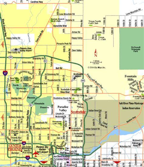 map of arizona and surrounding areas map of scottsdale arizona vacations travel map