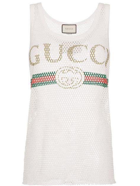 Gucci Top lyst gucci logo vest top in white
