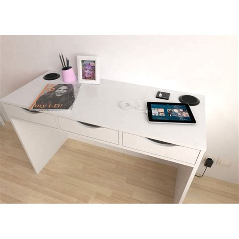 desk l with charging station desk with charging station and speakers in white 799184949