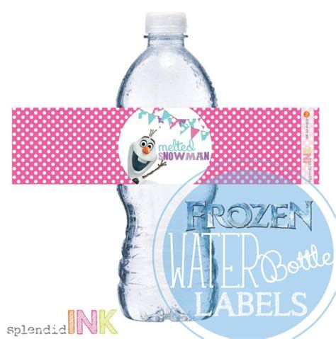 printable olaf water bottle labels instant download frozen olaf quot melted snowman quot water bottle
