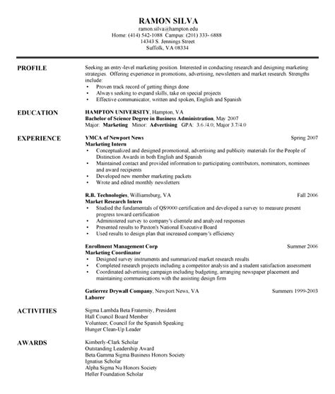 Entry Level Resume Exles by International Business Entry Level International Business Resume