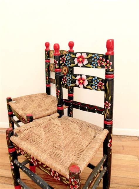 mexican painted chairs mexican folk chairs painted floral by