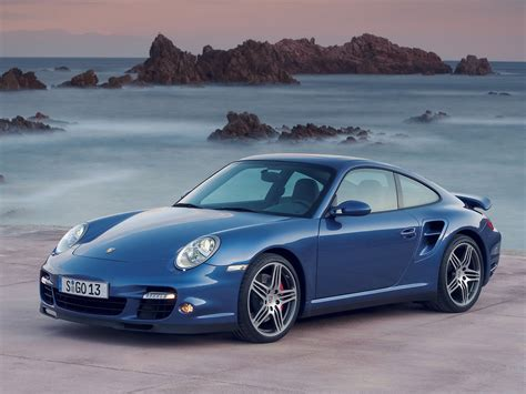 2007 porsche 911 turbo blue front and side 1280x960