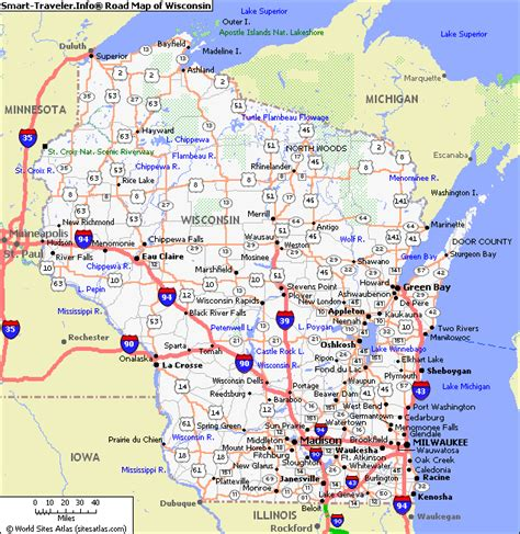 map of wisconsin cities map of wisconsin