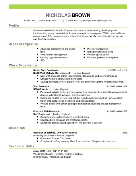 resumes exles resume templates