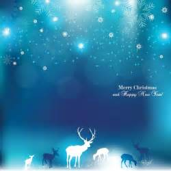 Gold Reindeer Decoration Free Vector Elegant Blue Christmas Background With